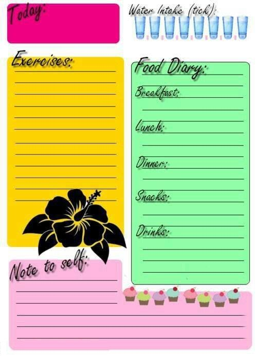 Printable Food and Exercise Diary